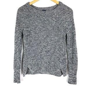 Gap Gray Marled Knit Long Sleeve Crew Neck Sweater